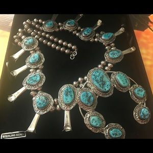 Turquoise SS Royston Squash Blossom Necklace